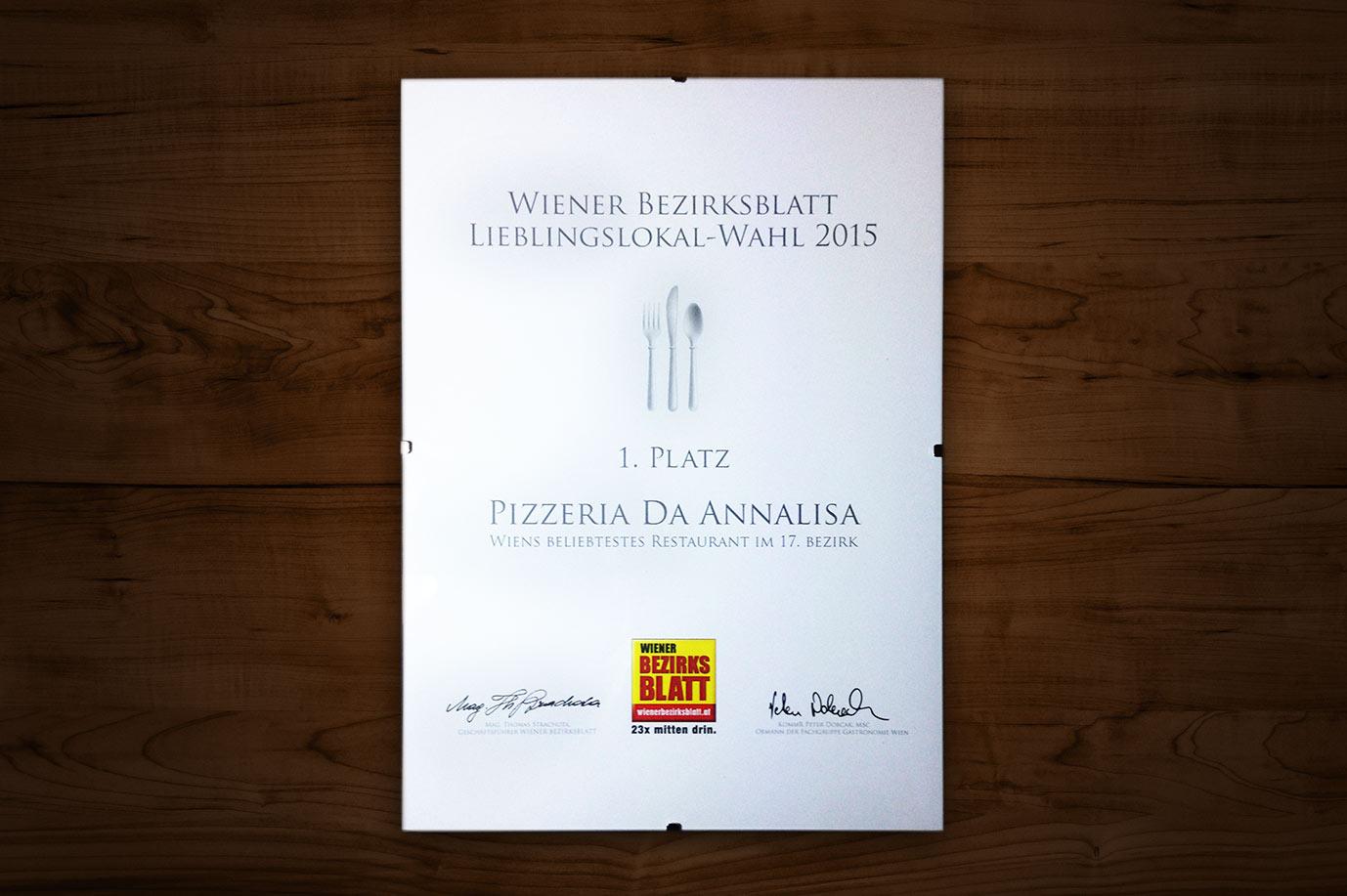 1. Platz für Pizzeria Da Annalisa
